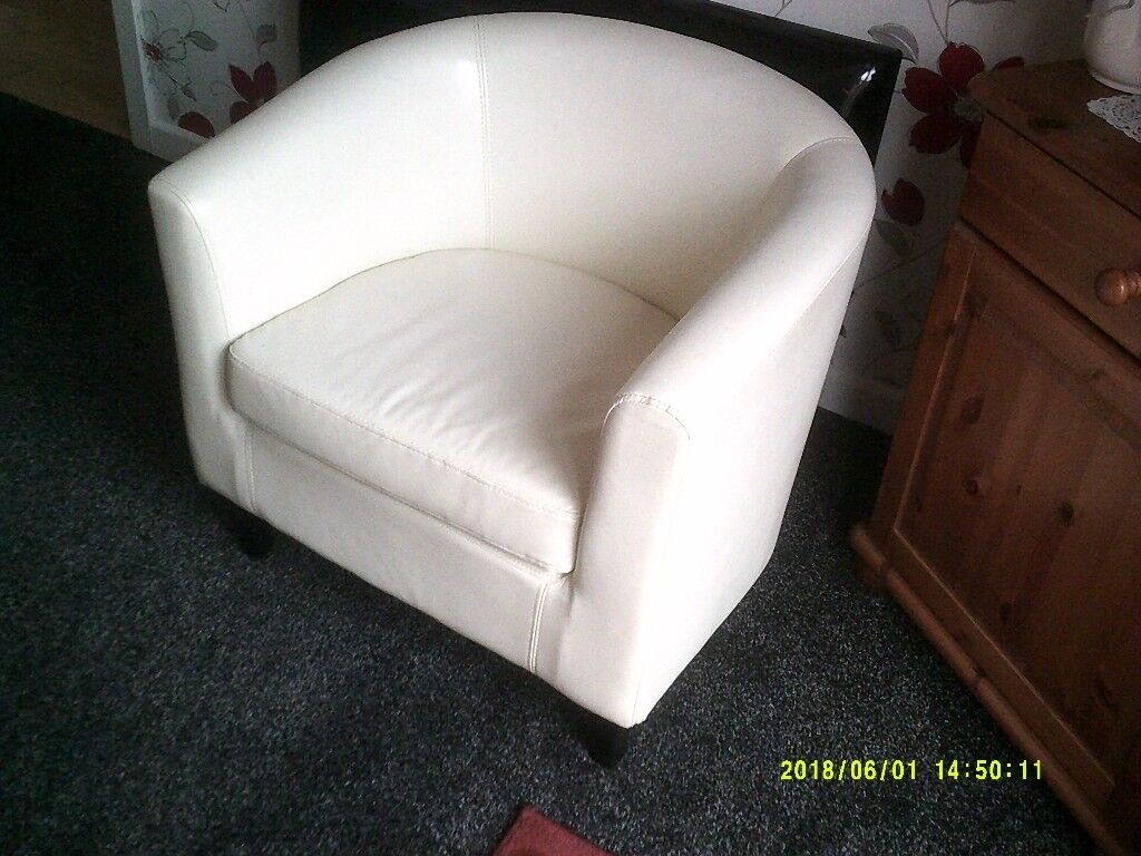 White Faux Leather Bedroom Chair