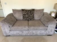 Two seater sofa, sweetheart swivel chair and storage footstool