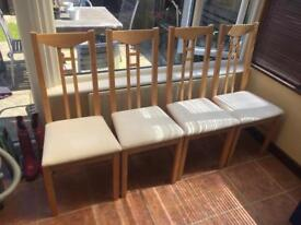 Ikea light wood chairs x 4
