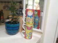 Set of 4 designer mugs by Claire Chilcott (Maxwell & Williams), excellent condition, perfect gift