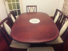 Mahogany ding table and 6 chairs