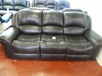 Real leather 3 seater reclining sofa ONLY £450
