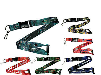 NHL Hockey Team Logo Lanyard Breakaway Keychain- Pick Team