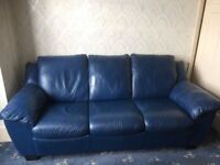 LOVELY BLUE LEATHER 3 SEATER METAL ACTION SOFA BED - MUST GO ASAP - CHEAP DELIVERY - £175
