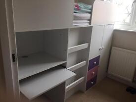 Mid sleeper bed with desk and wardrobe