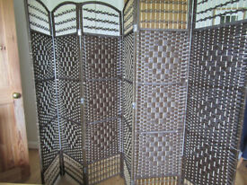 Brown and cream rattan screen or room divider