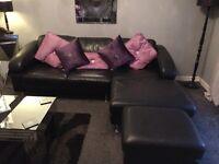 Black Leather Corner Suite Sofa