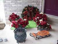 Christmas Artificial Plants, Wreath,Chair + Plant
