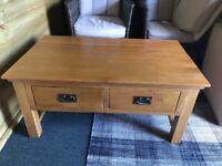 Used Solid Oak Coffee Table With Drawers