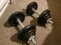 Pair of metal dumbbells in good condition.