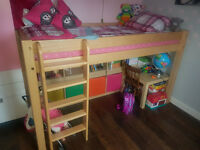 Chunky solid ash wood hand made mid sleeper bed