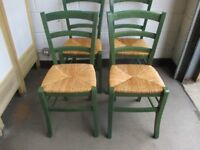 SET OF FOUR GREEN STAIN FARMHOUSE STYLE KITCHEN DINING CHAIRS WITH STRAW SEATS FREE DELIVERY