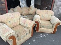 BIEGE FABRIC 2 SEATER SOFA AND 2 ARM CHAIRS,CAN DELIVER