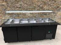 black Refrigerated salad display counter with refrigerated fridge under