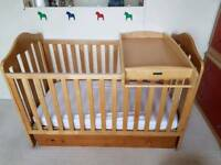 Wooden cot bed & cot top changer (mamas and papas)