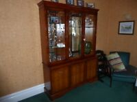 Yew dining room table, chairs and dresser.