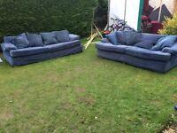 Blue fabric sofas 3+2