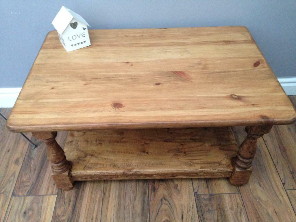 Pine coffee tablein Ellesmere Port, CheshireGumtree - Rustic pine coffee table with bottom shelf, reconditioned and restyled to a high standard and finished in a rich rugger brown wax.Length 90cmWidth 60cmHeight 47cmPlease visit my profile for other similar items