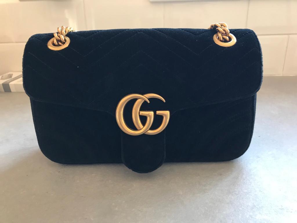 f3904f3b7c0 Gucci GG marmont black velvet 100% authentic