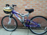 Ladies mountain bike used twice gears gel seat and pump included