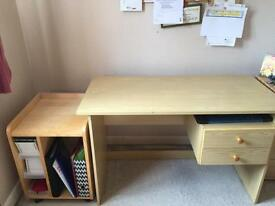 Desk and printer/file cabinet