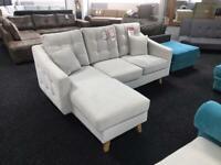 Sale corner sofa plush velvet light grey