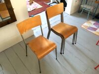 Set of 4 vintage school stacking chairs