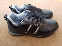NEW RUGGED TERRAIN MENS BLACK LEATHER SAFETY / WORK TRAINERS SIZE 6