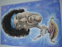 Watercolour caricature painting picture of Jimi Hendrix playing guitar. (not a print).