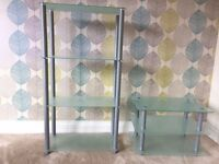 Matching Set of Glass Shelf Display Storage Units. 3 Tier and 2 Tier. Both in EXCELLENT condition!