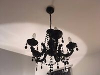 Black Chandelier ceiling light, 5 lamps, excellent condition, fully working