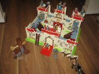Wooden Toy Fort Castle, knights and catapult