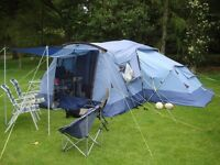 KHYHAM 'Quick Erect System' HAREWOOD 6 Berth Tent with Annex + Carpet = Good condition
