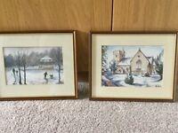 Pair of Original Watercolours by Ben Harris local Welsh Artist 8.75cm/22cm W10.75cm/27.5cm
