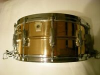 "Ludwig L556 seamless polished bronze Supersensitive snare drum 14 x 6 1/2"" - Chicago - '83-'84 -"
