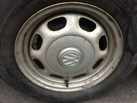 VW Golf, 13 inch, wheels with part worn tyres x4