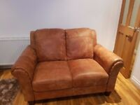 2 Seater; Natural Tan Leather Sofa (DFS)