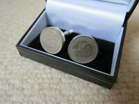 Silver Sixpence Cufflinks - Coin dated 1954
