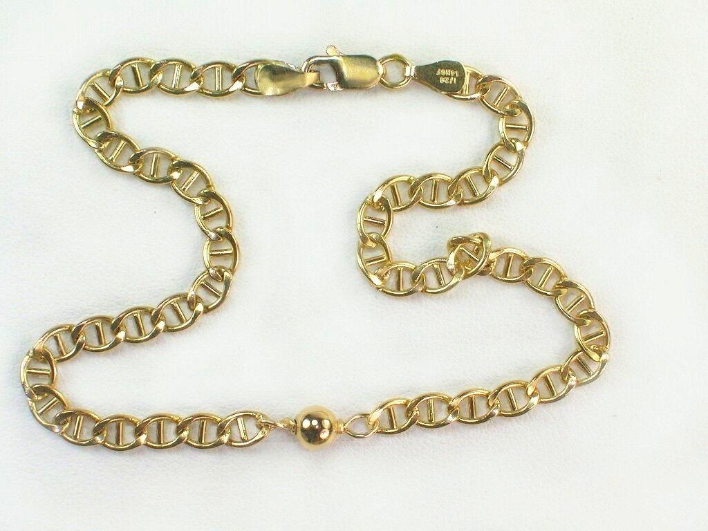 Genuine 1/20 -14k gold filled / 4.5mm wide/ 10 inch / solid gold anklet bracelet