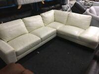 ScS New/Ex Display Cream/White Leather Corner Sofa