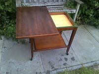 Vintage Teak Hostess Trolley Fold out Card / Games Table Eastcraft Scotland