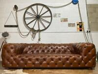 Barker & Stonehouse Chesterfield Leather Vintage Sofa Brown 4 Seater