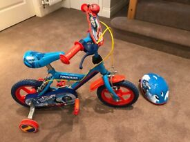 """Thomas the Tank Engine 12"""" Kids Bike with stabilisers and matching helmet."""