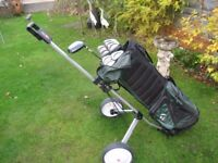 TAYLOR MADE GOLF CLUBS IN BAG WITH TROLLEY MENS RIGHT HAND