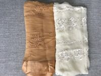 100% Genuine Silk White & Cream/ Brown Scarf