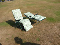 2 x Glendale Garden Reclining Chairs with detachable cushions. New.