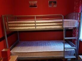 Silver metal framed bunk beds