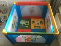 Babylo Safari Friends Playpen 2-in-1. Can be used as a Travel Cot.