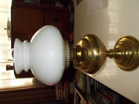 vintage oil lamp with glass chimney and glass shade great condition ,the wicks are all in order....