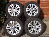 """Mercedes 16"""" alloy wheels with Goodyear Eagle 225 x 55 x R16 winter tyres"""